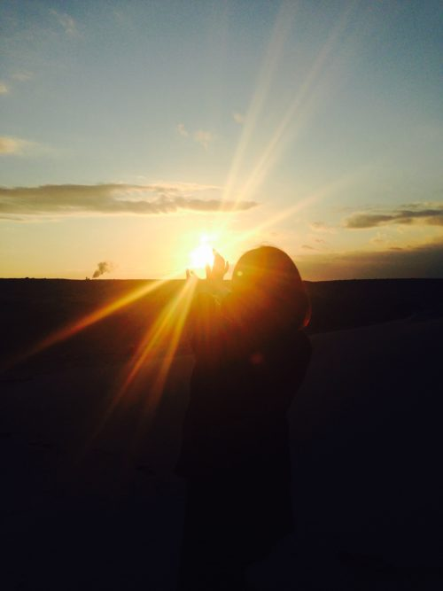 海辺,夕陽,かめはめ波